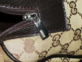 GUCCI Khaki Brown Signature Logo Jacquard & Leather Doctors Tote Bag
