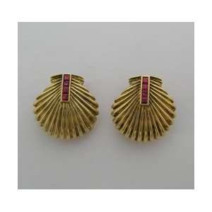 18k Yellow Gold Diamond Ruby Retro Shell Earrings Circa 1940 Jewelry