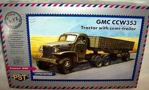 pst 1/72 GMC CCW353 WWII TRUCK TRACTOR w/ CARGO TRAILER
