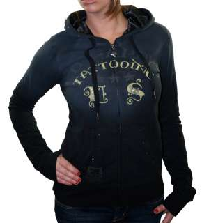 ED HARDY Christian Audigier Tattoo Studded Hoodie Womens Hooded