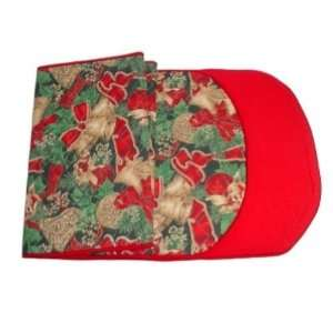 Table Runner Christmas Bows and Bells 60 Quilted Hand Made in USA