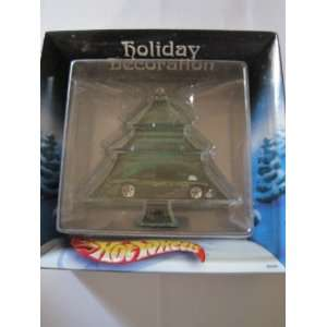 Hot Wheels Holiday Decoration Green Tree which includes a car in it