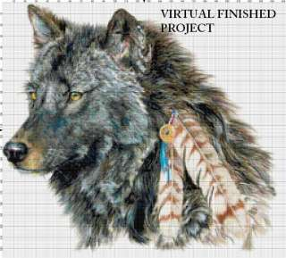 Indian Wolf Cross Stitch Pattern Native American