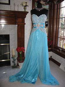 Prima Donna 5583 Aqua Blue Sparkling Pageant Gown Dress 6