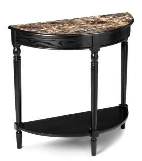 French Country Black Wood Marble Style Entry Side Table 095285409075