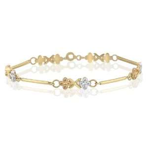 14K Tri Color Gold Hollow X O Bracelet Beautifully Designed with Multi