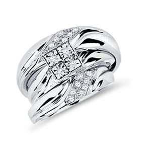 Diamond Engagement Rings Set Wedding Bands White Gold Men Ladies 1/4ct