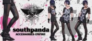 SL249 Black Punk Rock Style Tights Pants Leggings EMO