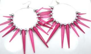 Basketball Wives Poparazzi Inspired Magenta Lucite Spike Hoop Earrings