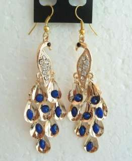 VARY COLORS SWAROVSKI CRYSTAL GOLD SILVER PEACOCK HOOK EARRINGS 1428