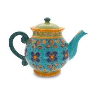 Gracie China Dutch Wax Hand Paint Ceramic 4 Cup Teapot, Blue/Green