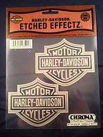 Etched Effectz Harley Davidson Set of 2 Silver Bar and Shield Decals