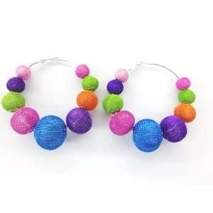 Multi Color MESH Balls Beads Basketball Wives Poparazzi Hoop Earrings