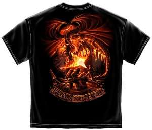 FIREFIGHTER FEAR NO EVIL DRAGON T SHIRT S M L XL 2X 3X