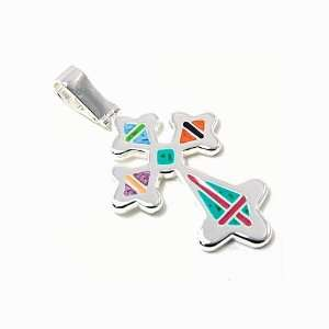 Multicolor Pointy Cross Pendant Necklace Fashion Jewelry