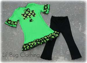 Custom Boutique St. Patricks Day Lime Knit Top & Pant Girls Baby
