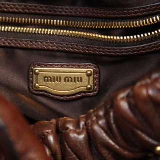MIU MIU Leather Studded Patchwork Hobo Bag Purse Brown