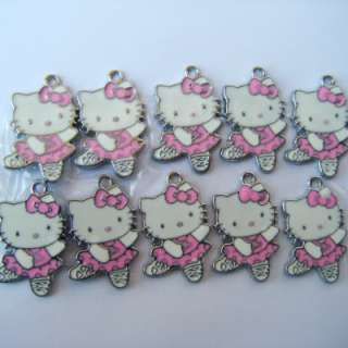 HELLO KITTY cat Jewelry making pink ballet bow Metal Charms Pendants B
