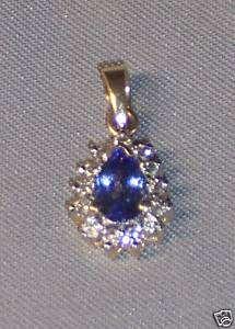 14K YELLOW GOLD PEAR SHAPED TANZANITE & DIAMOND PENDANT