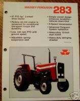 Massey Ferguson MF 283 Tractor Spec Sheet Brochure