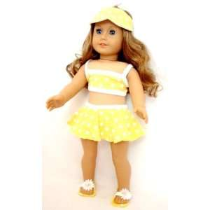 Yellow Polka Dot Bikini Set for 18 dolls Toys & Games