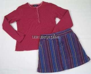 LANDS END Girls Shirt Top Corduroy Skirt Outfit 6 7 8