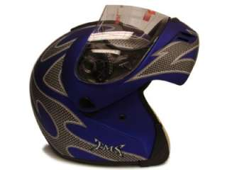 DOT FLIP UP MODULAR MOTORCYCLE STREET HELMET BLUE ~L