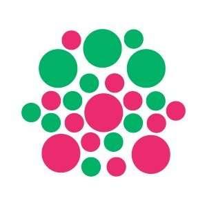 Set of 90   Hot Pink / Kelly Green Circles Polka Dots Vinyl Wall