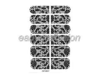 1pcs Stickers Nail Art Design Black Flower Pattern Wraps Foil Decal