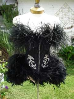 Victoria Velvet Black Swan Feather Corset Costume