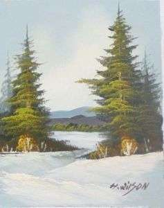Wilson WINTER FOREST LAKE Oil Painting on Canvas