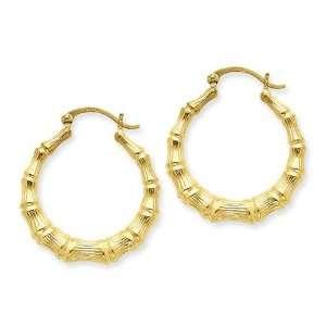 Bamboo Hoop Earrings in 14k Yellow Gold Jewelry