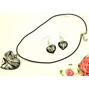 Black Heart Shaped Glass Pendant with Leather Necklace