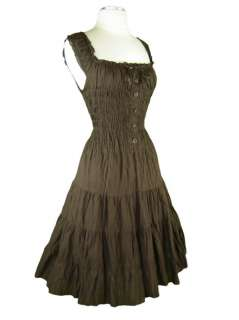 Style CHOCOLATE BROWN PINUP Off the Shoulder PEASANT Sun Dress