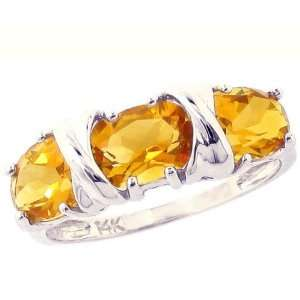 14K White Gold Hugs and Big Kisses Oval Gemstone Ring Citrine, size7.5