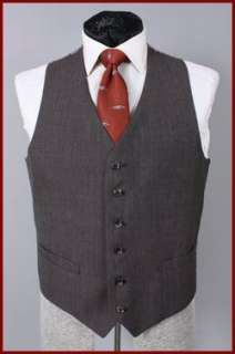 VINTAGE MOD INDIE MENS BROWN TIC 3 PC SUIT w/ VEST 42 L 42L