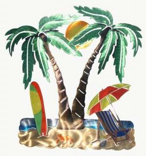 New 3D PALM TREE METAL WALL ART Tropical Ocean Sea Decor Beach House
