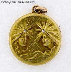 Antique Art Nouveau 14k Diamonds Two Womans Faces Locket