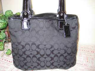 NWT AUTHENTIC COACH SOHO SIGNATURE BLACK NORTH SOUTH TOTE F17401