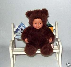 Anne Geddes Baby Brown Teddy Bear Baby Doll 7 sitting