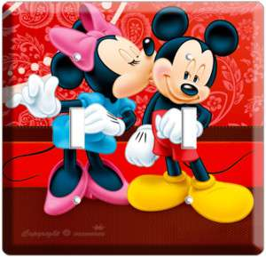 MICKEY MOUSE & MINNIE KISSING DOUBLE LIGHT SWITCH PLATE