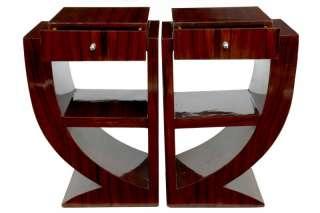Pair Art Deco Rosewood Nightstands Bedside Tables Furniture