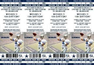 12 Dallas Cowboys Birthday Ticket Invitations