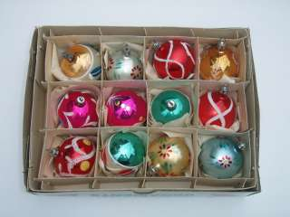 12 VTG Poland Glass Christmas Ornaments Santa Land NICE