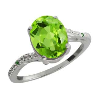 16 Ct Oval Green Peridot and Green Diamond Sterling Silver Ring