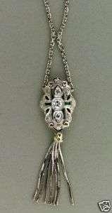 ESTATE 1930s DECO EURO CUT DIAMOND EMERALD TASSEL WHITE GOLD PENDANT