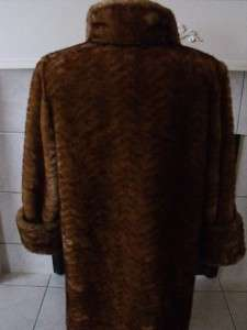 FAUX FUR WOMENS COAT JACKET GOLDEN BROWN WARM COSY SIZE S/P