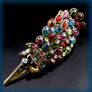 ADDL Item , 1pc antiqued peacock hair clamp clip crystal