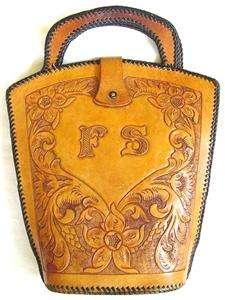 Vtg Hand Tooled Ostrich Leather Handbag Hand Bag Excellent