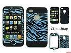 FOR IPHONE 4G 4S HARD SHELL SOFT GEL BLUE ZEBRA STRIPE CASE COVER SKIN